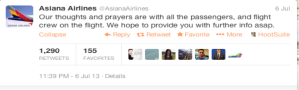 Asiana First tweet